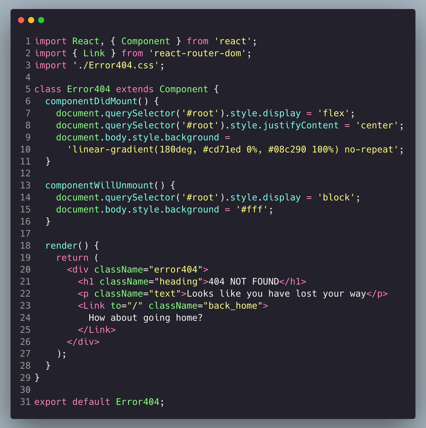 Error404 page component JSX