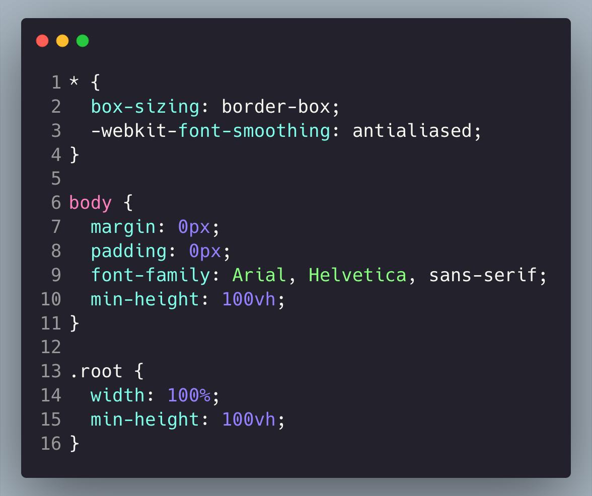 Index.js - CSS