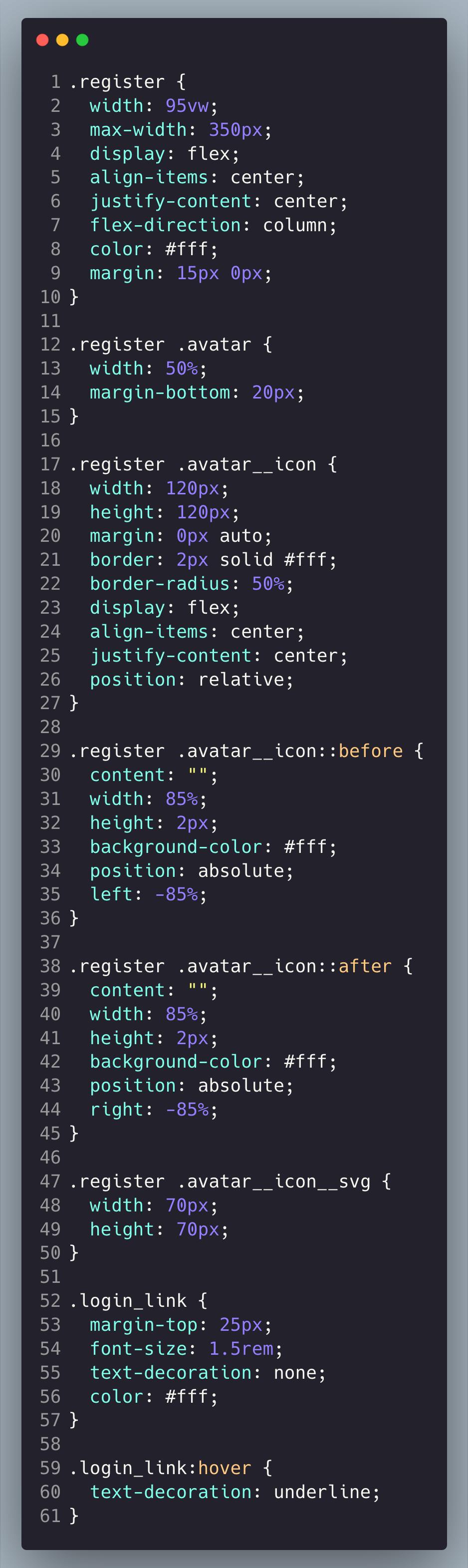 Register - CSS