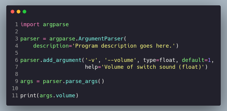 defining arguments with argparse