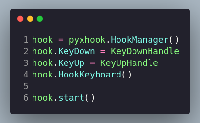 Initiating hook manager and attaching a keyboard hook