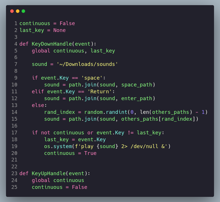 Callback handlers for pressing a key and releasing it - keyboard sound simulator in python