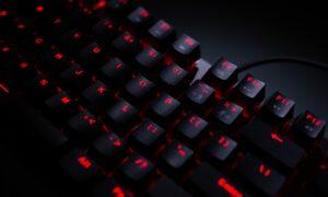 Black keyboard with red backlit